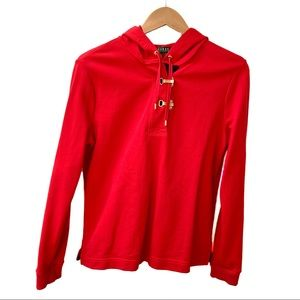 LAUREN Ralph Lauren Buckle Hoodie Red Size Medium